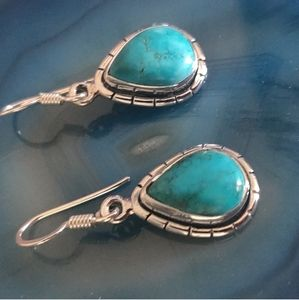 Genuine Turquoise and Sterling Teardrop Earrings